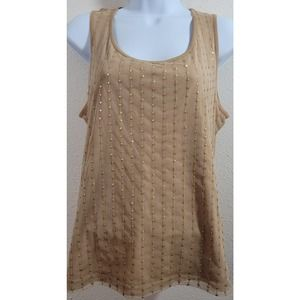 Chico's Tan Gold Sequins Front Panel Tank Top 1 M
